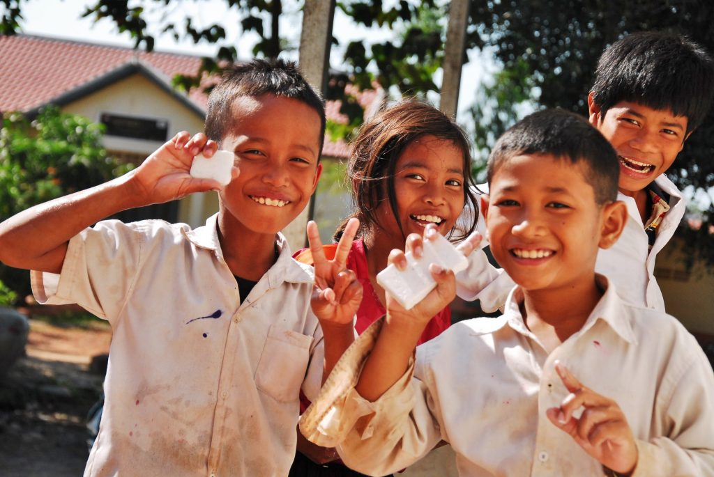 Kids in village with EcoSoap